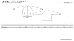 Sub Jacket Ladies - Measurement Chart