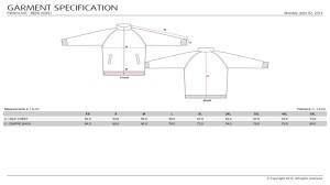 Sub Jacket Mens - Measurement Chart